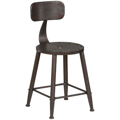 Foundry Rustic Metal Bar Chair With Curved Back Vintage Style