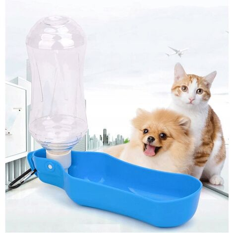 Fountain to drink, bottle of portable travel for dogs, cats, rabbits, pigs of India and other pets foldable - 500 ml blue