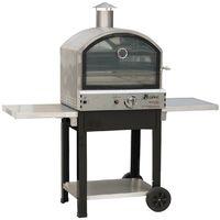 Four a gaz barbecue extérieur 4700W mobile 2 étages de cuisson pizza sur pierre et four basse température allumage piezo