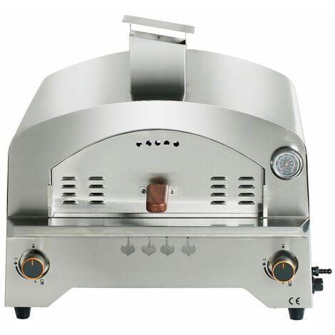 """main image of """"Four à pizza portable à gaz en acier inoxydable Four à pizza portable Bighorn avec plaque céramique 13 pouces - Acier inoxydable+Marron"""""""
