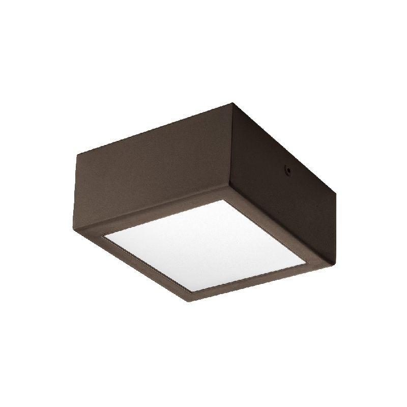 Homemania - Four Deckenlampe - Deckenleuchte - Quadratisch - von Wand zu Wand -Braun, Weiss aus Stahl, 12 x 12 x 6 cm, 1 x LED, 10W, 595lm, 3000K,