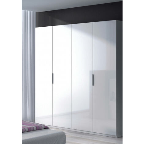 Four-door cabinet with two shelves and two clothes rails, glossy white colour, 200 x 180 x 52 cm