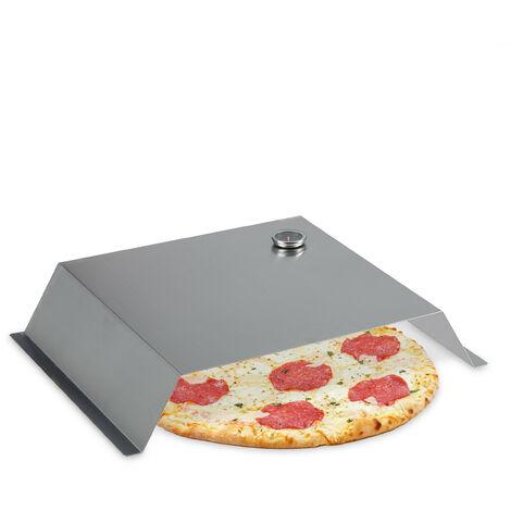 Four pizza barbecue, avec thermomètre, accessoire en inox, HLP: 10 x 55,5 x 40 cm, BBQ, gaz, charbon, argenté