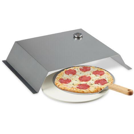 """main image of """"four pizza barbecue, pierre & pelle, thermomètre, accessoires, acier inox, 10 x 55,5 x 40 cm, argenté"""""""