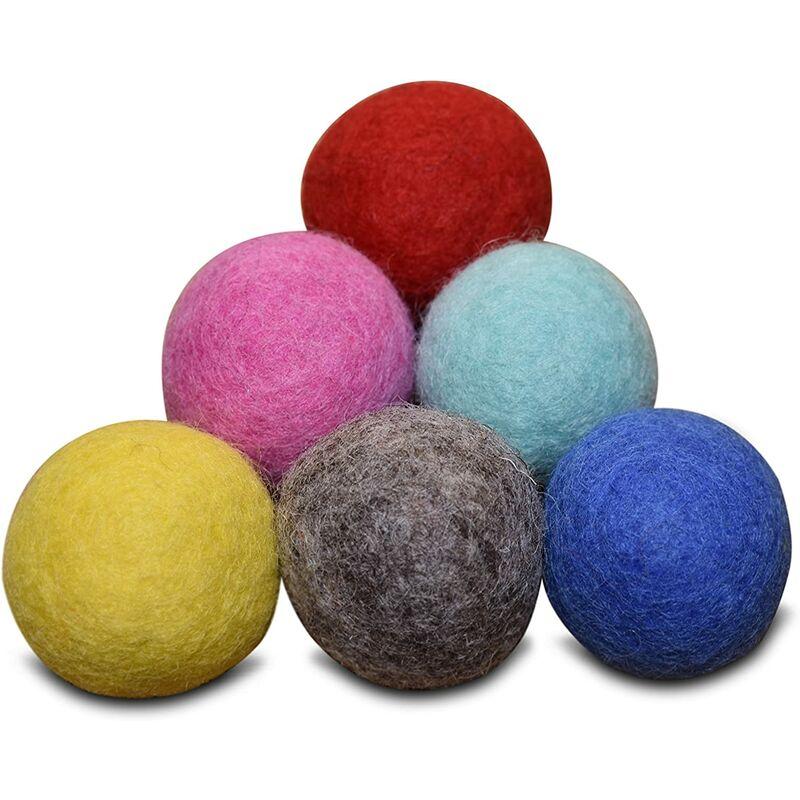 Abcrital - Fournitures confortables pour animaux de compagnie, lot de 6, -100 % jouets de boule en feutre de laine pour chats et chatons, boules de