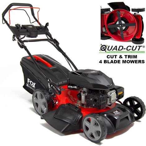 "Fox Quad-Cut 510E 20"" Electric Start Self Propelled Petrol Lawn Mower"
