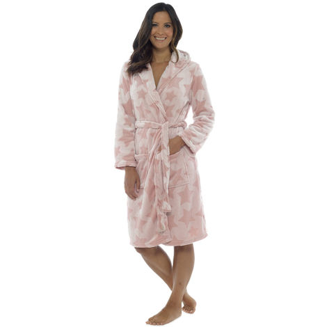 Foxbury Womens Star Embossed Fleece Hooded Wrap Bathrobe