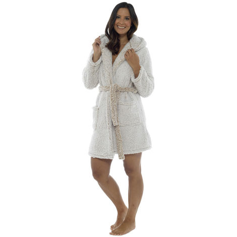 Foxbury Womens Warm Sherpa Fleece Hooded Wrap Over Bathrobe