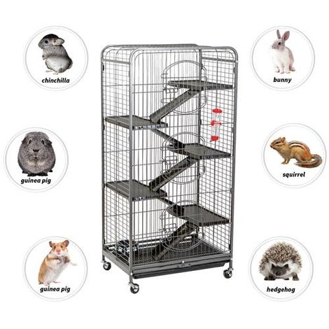 FoxHunter 131CM Metal Pet Cage 6 Level FH-MPC-04 Hammered Silver
