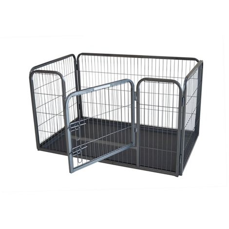 FoxHunter Pet Play Pen FH-MPP-02L Hammered Silver