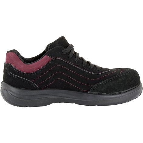 Foxter - Chaussures de sécurité   Femmes   Basses   Baskets de Travail   Légères et Respirantes   Sans métal   Cuir Noir   S1P SRA