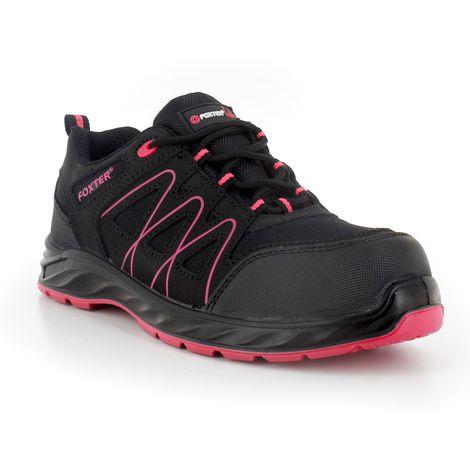 Foxter - Chaussures de sécurité   Femmes   Basses   Baskets de Travail   Légères et Respirantes   Sans métal   Cuir Noir   S1P SRC
