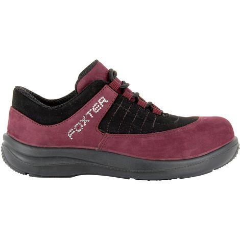 Foxter - Chaussures de sécurité   Femmes   Basses   Baskets de Travail   Légères et Respirantes   Sans métal   Cuir Rose   S1P SRA