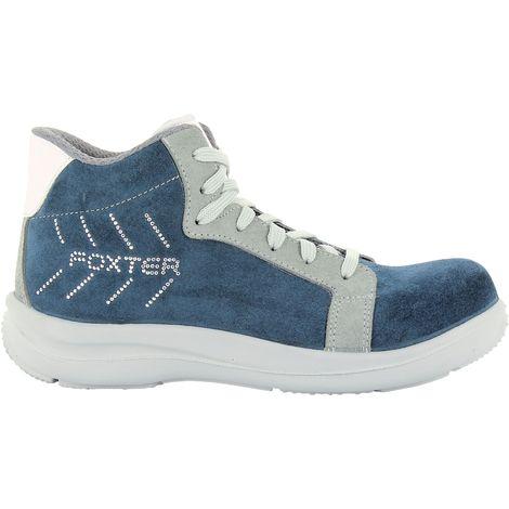 Foxter - Chaussures de sécurité   Femmes   Montantes   Baskets de Travail   Légères et Respirantes   Imperméable   Sans métal   Cuir Bleu   S3 SRA