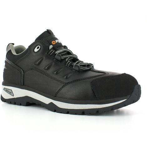 Foxter - Chaussures de sécurité | Hommes | Basses | Baskets de Travail | Légères et Respirantes | SafetyKey : Grand Confort | Imperméable | Cuir Noir | S3 SRC HRO