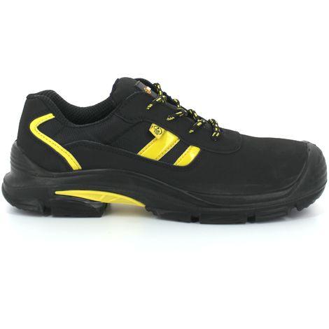 Foxter - Chaussures de sécurité   Mixte : Hommes et Femmes   Basses   Baskets de Travail   Légères et Respirantes   Imperméable   Sans métal   Cuir Noir   ESD : Idéal pour électricien   S3 SRC