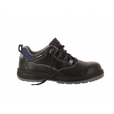 Foxter - Chaussures de sécurité | Mixte : Hommes et Femmes | Basses | Respirantes | Imperméable | Sans métal | Cuir Noir | S3 SRC