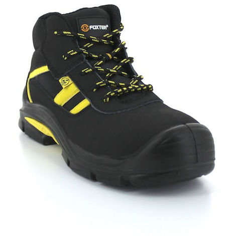 Foxter - Chaussures de sécurité   Mixte : Hommes et Femmes   Montantes   Baskets de Travail   Légères et Respirantes   Imperméable   Sans métal   Cuir Noir   ESD S3 SRC