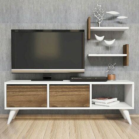 Foxy TV Stand - with Doors, Shelves - for Living Room - Walnut, White, made in Wood, 120 x 30 x 40 cm