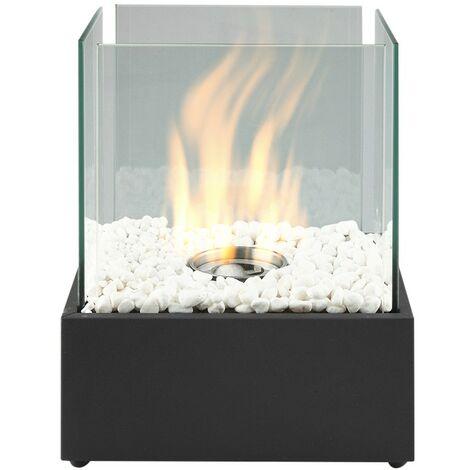 Foyer de Table Carré au Bioéthanol Brûleur Chauffage d'Intérieur/ d'Extérieur - Noir