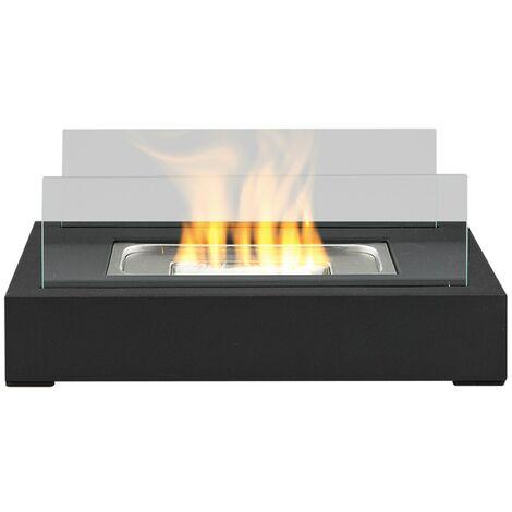 Foyer de Table sur Pied au Bioéthanol Brûleur Chauffage Intérieur Extérieur - Noir