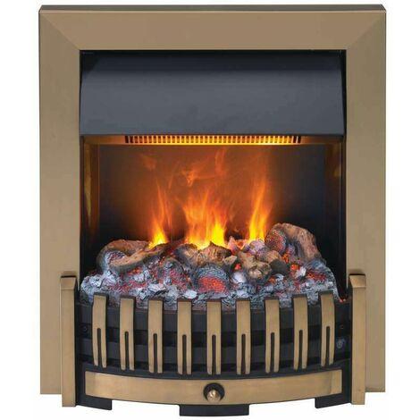 Foyer encastrable DANVILLE Bronze + kit bûches - 1000/2000W - Optimyst