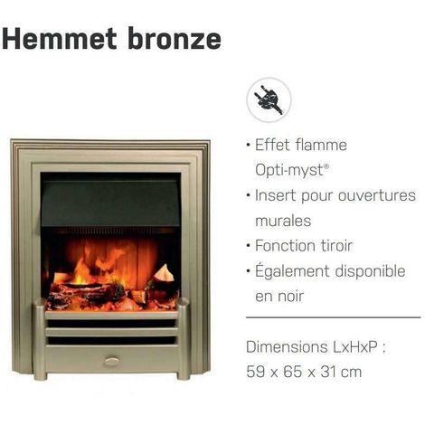 Foyer encastrable HEMMET Bronze + kit bûches à LED - 1000/2000W - Optimyst
