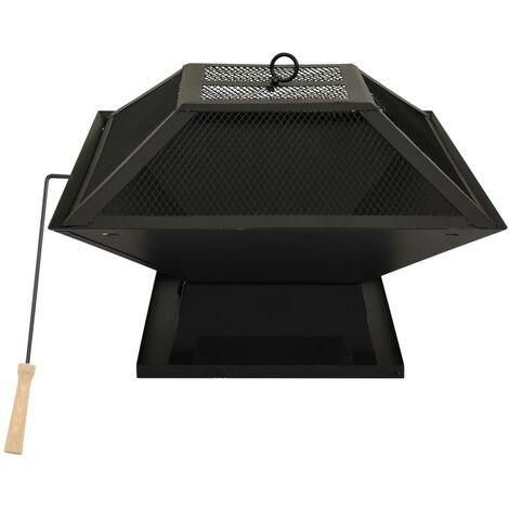 Foyer et barbecue avec tisonnier 2 en 1 46,5x46,5x37 cm Acier