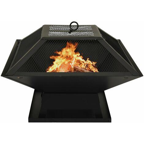 Foyer et barbecue avec tisonnier 2 en 1 46,5x46,5x37 cm Acier6862-A