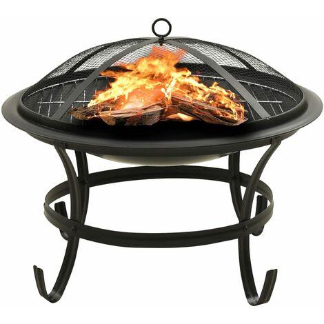 Foyer et barbecue avec tisonnier 2 en 1 56x56x49 cm Acier
