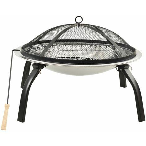 Foyer et barbecue avec tisonnier 2 en 1 56x56x49 cm Inox