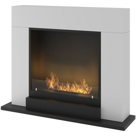 Foyer ethanol moderne avec manteau Blanc Sined Fire INPORTAL 2 WHITE