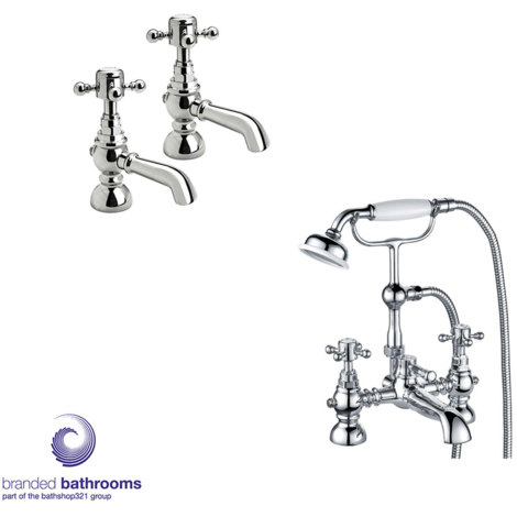 Foyle Basin Taps (Pair) - By Voda Design Foyle Bath Shower Mixer with Shower Kit - By Voda Design