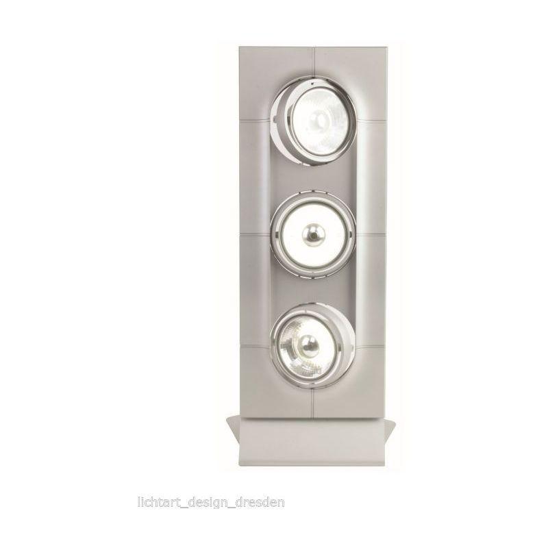 FOZZ AERO 05.0646.210.000 Multiple 3er Tischleuchte Silber Matt GU10 Alu Stehlampe AR111 ESL