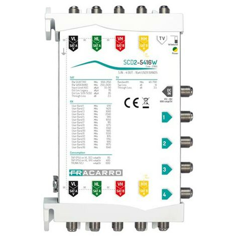 Fracarro Multiswitch SCD2-5416W 5 IN 4 OUT 271180