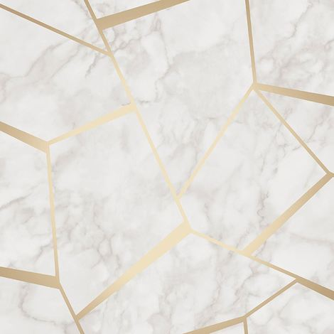 Fractal Marble Wallpaper Granite White Metallic Gold Luxury Fine Decor