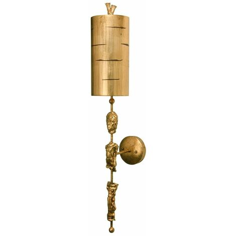 Fragment wall light, gold, with lampshade