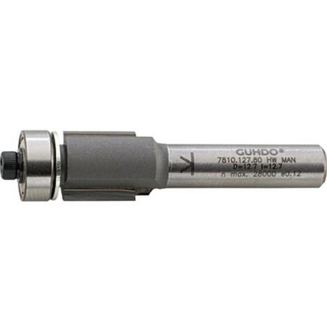 Fraise à affleurer, outil à bois, Ø : 12,7 mm, Long. utile 25,0 mm, Long. totale 66 mm