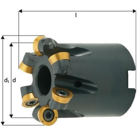 Fraise à copier, à arrosage interne, Ø d1 : 125 mm, Nombre de dents 8, Dimensions Ø D 109 mm, Ø du perçage de positionnement : 40 mm