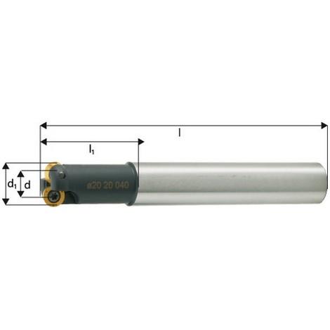 Fraise à copier, à arrosage interne, Ø d1 : 15 mm, Nombre de dents 2, Dimensions Ø D 8 mm, Ø de queue : 16 mm, Dimensions l : 140 mm