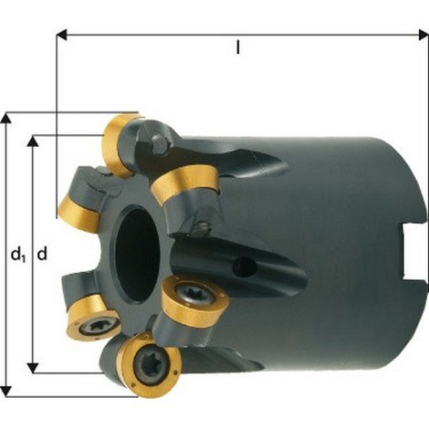 Fraise à copier, à arrosage interne, Ø d1 : 52 mm, Nombre de dents 5, Dimensions Ø D 40 mm, Ø du perçage de positionnement : 22 mm