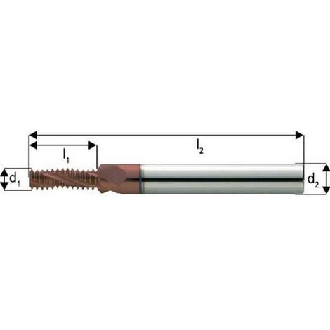 Fraise à fileter GF en carbure monobloc, arrosage central, 2 x d, revêtement TiCN, Filetage : M10, Pas 1,50 mm, Lames de l1 21,7 mm