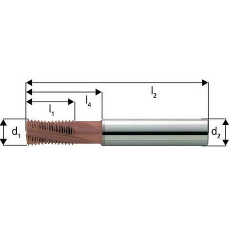 Fraise à fileter GFM en carbure monobloc, arrosage central, revêtement TiCN, Ø d1 : 20 mm, Pas 2,00 mm, Lames de l1 33 mm, Pour Ø filetage : 27 mm