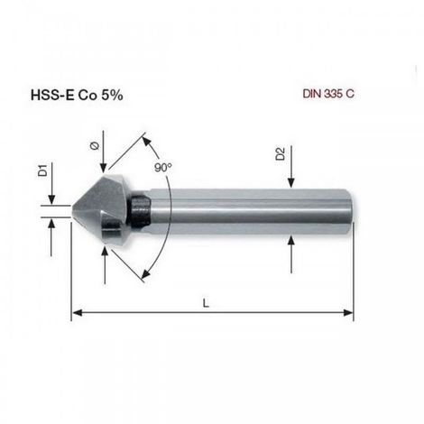 Fraise à noyer 90° ASR Co5 16.5 mm Kraftwerk 18250 25.26