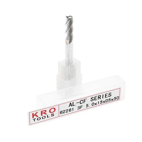 Fraise à queue 3 dents KRO Ø 5mm Longueur 15mm Cannelure Acier au Tungstène Haute performance CN