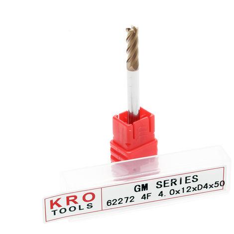 Fraise à queue 4 dents KRO Ø 4mm Longueur 12mm Cannelure Acier au Tungstène Haute performance CN