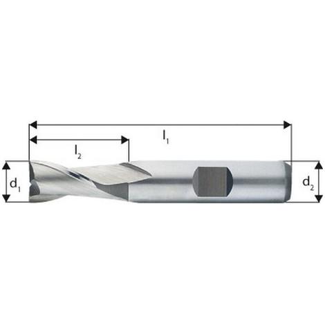 Fraise à rainurer extra courte, type N, en acier à coupe rapide à 8% de cobalt, sans revêtement, Ø d1 - e8 : 2,0 mm, Long. totale l1 48 mm