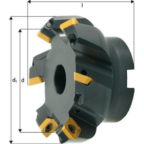 Fraise à surfacer à 45° arrosage interne, Ø d : 63 mm, Nombre de dents 5, Ø du perçage de positionnement 22 mm, Dimensions Ø d1 : 76 mm