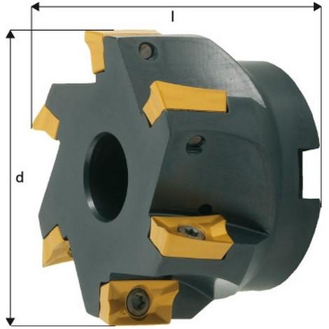 Fraise à surfacer-dresser à 90° à arrosage central APKT 1604, Ø d : 100 mm, Nombre de dents 8, Ø du perçage de positionnement 32 mm, Dimensions l : 50 m