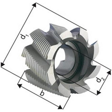 Fraise cylindrique en bout, Type HR, en acier à coupe rapide à 8% de cobalt, Ø x Larg. : d1 - js14 x b - k16 : 50 x 36 mm, Alésage d2 - H7 22 mm